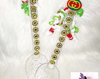 Gucci Serving Spoons  (Set of 2) | Custom Dinnerware | Custom Spoons | Designer Inspired