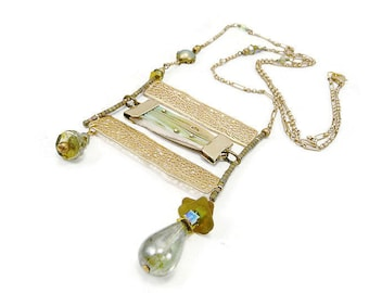 Long necklace gold plated matte with pleated silk shibori and MOSS green Crystal