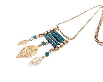 "Blue necklace leaf charm oil ""rose gold"" watermark"