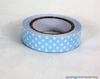 masking tape 15 mm light blue polka dots cotton