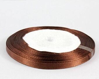5 Metters Brown 6 mm satin ribbon