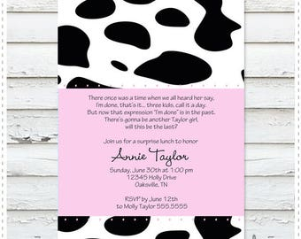 Moo Pink Baby Shower Invitation