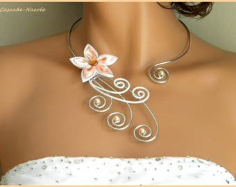 Jade flower White Salmon satin aluminium silver Pearl wedding bridal necklace