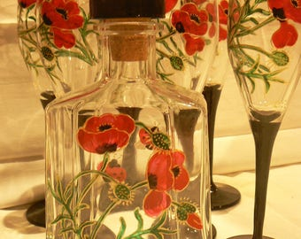 "collection ""poppies"" 6 flutes""+ 3/4 liter liquor bottle"