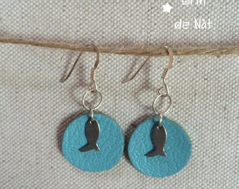 Leather with silver hook earrings