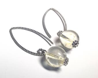 Silver earrings with citrine, Earrings with citrine, Earrings for the money