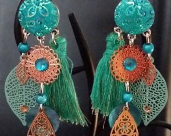 """Festive Turquoise"" earrings 7.5 cm"