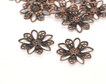 2 connectors prints pinwheel filigree antique copper metal 19mm