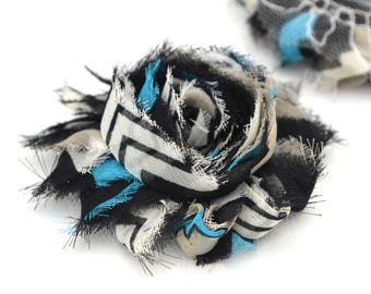 Black, white fabric flower, blue, 6cm, sew or glue