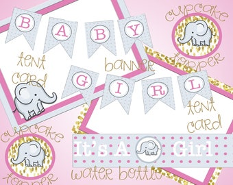 DIGITAL DOWNLOAD - Elephant Baby Shower - Gold and Pink