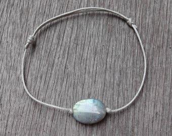 Gray Labradorite stone link bracelet