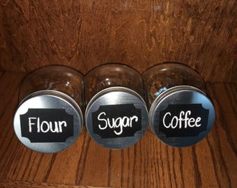 Glass canisters with chalkboard vinyl