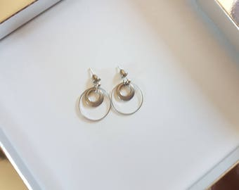 Earrings - silver plated ring & silver sequins