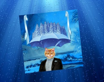 Greeting card with cat: snow dream