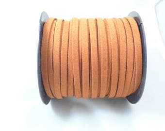 2 m cable flat 5 MM caramel colored suede