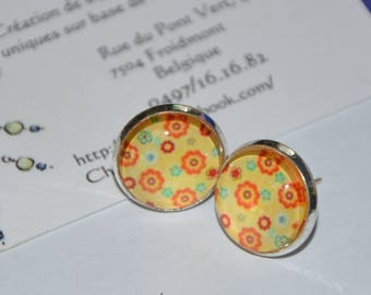"Earrings cabochon chips, ""sparkling floral yellow"""