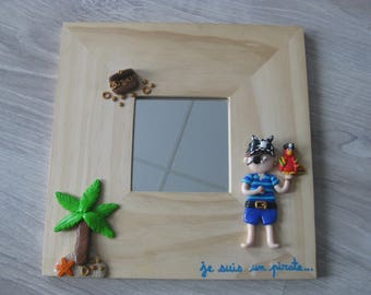 Mirror for bedroom of little pirate in fimo
