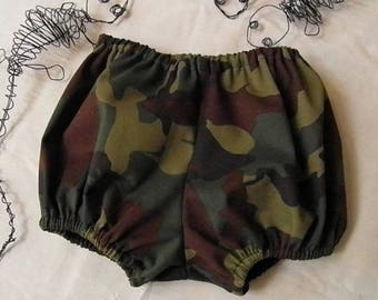 Camouflage army khaki type baby bloomers