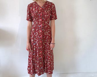 Red Floral House Dress