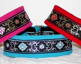 Dog Collar Jacquard Ribbon Elegant  Design