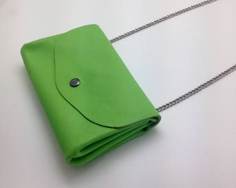 Neon Green soft calf leather wallet