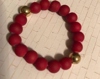 Burgundy and gold children's bracelet