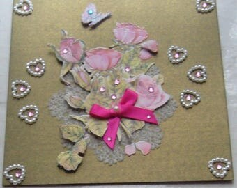 Double card 3D hand made a bouquet of roses on a metallic green background - matching envelope