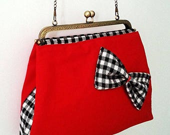 Red shoulder bag and a Gingham Bow - vintage