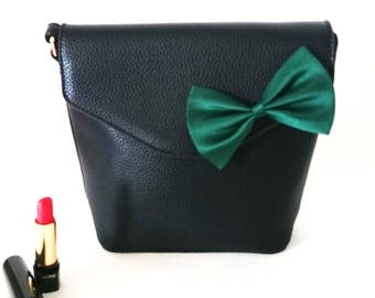 Bag in black and Green bow - touch leather