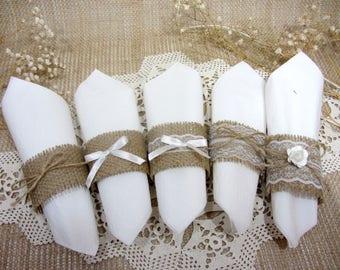 10 Rustic Napkin Rings, Wedding Decor, Burlap Wedding Napkin Rings, Wedding Table Decor, Rustic Wedding Wedding Napkin Rings Burlap Lace
