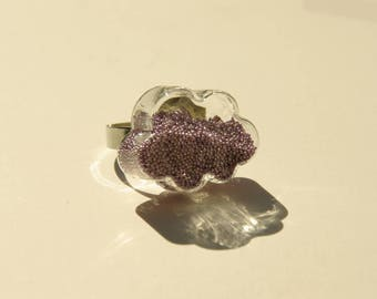 Cloud and Pearlescent purple glass ring