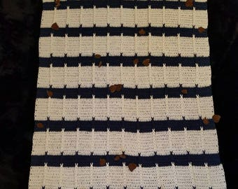 Afghan Dark Blue and and White with Brown felt leaves