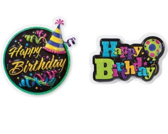 Happy Birthday Party Hat and Balloon Pop Top Cake Toper
