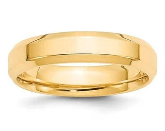 New 14K Solid Yellow Gold 5mm Comfort Fit Bevel Edge Wedding Band Ring Sizes 4-14