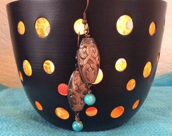 Southwestern Earrings, copper jewelry, boho, turquoise jewelry, aqua pearl earrings