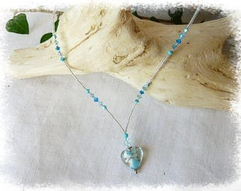 Murano glass heart pendant necklace
