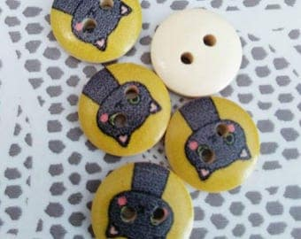 Set of 5 cats and mustard yellow wooden buttons