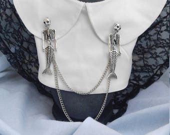 Skeleton Mermaid Sweater Clip, Collar Clip, Goth Jewelry