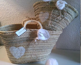 Pair of baskets/bags mother daughter flowers linens and the hearty white hearts