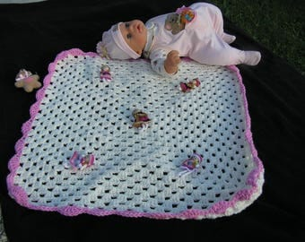 baby blanket yarn 59 x 59 crocheted white and pink border and dolls