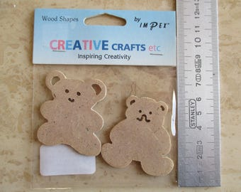Teddy bear in wood for scrapbooking