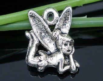 x 1 fairy charm 17 mm antique silver pendant.