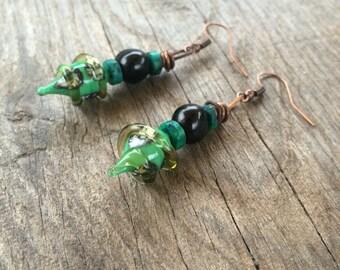 Ethnic earrings, Tribal, glass filled, ivory, green and black, handmade