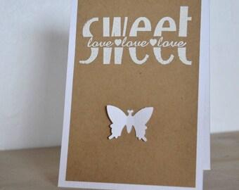 Kraft Butterfly card: birthday wedding Valentines.