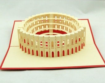 Handmade 3D pop up card Italy Rome Colosseum birthday Valentines father's day mother's day Easter wedding party meeting invitation card gift