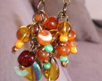 Orange halloween beaded earrings