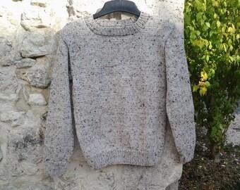 Pullover round neck woman grey tweedee winter T 36/38