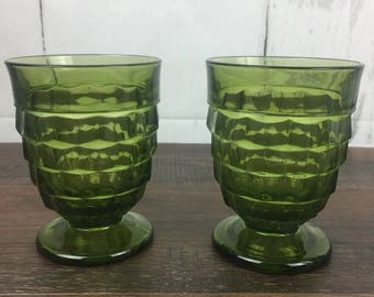 Indiana Glass Whitehall Olive Avocado Green Glass Set Of 2 10oz Footed Tumblers