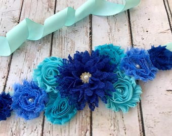 Navy Turquoise Blue Maternity Pregnancy Sash Baby Shower Baby BoyGender Reveal Party Photo Prop Baby Gift