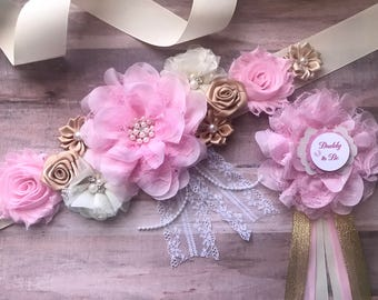 Baby Pink and Gold Light Pink Maternity Sash Daddy to be Corsage Pregnancy SashPhoto Prop Gift Keepsake Baby Shower Flower Belly Belt  Belt